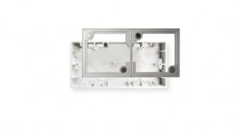 Ecler WPa2SMBOX In-wall double surface-mount installation box Front with frame 2 HR lr