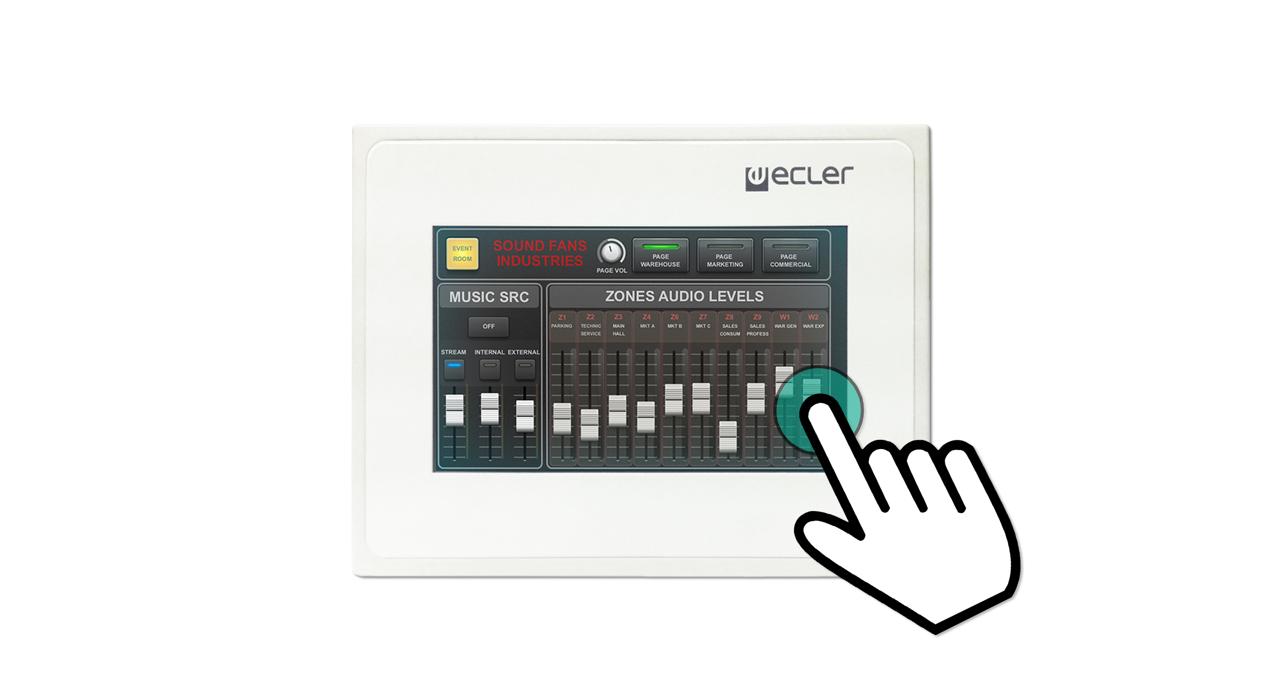 Ecler WPmCREEN EclerNet Touch-screen wall panel